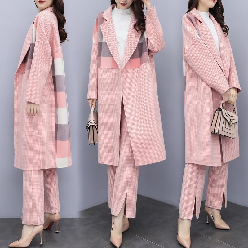 Woolen Women 2 Piece Set Top And Pants Splicing Plaid Coat Designer Clothes Women Luxury Fashion Women Matching Set Outfit