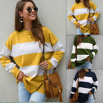 SEGGNICE Striped Loose Ladies Long Sleeve Sweater Pullover 2020 Autumn Winter New Arrival Round Neck Knit Sweaters for Women hdy haoduoyi 2018 new arrival beige knit half necked openwork loose pullover sweater autumn winter