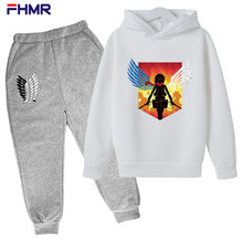 Round Neck Spring and Autumn Children Boys Girls Casual Wear Fashion Sports Attack Giant Printing Hooded Two-piece Cotton