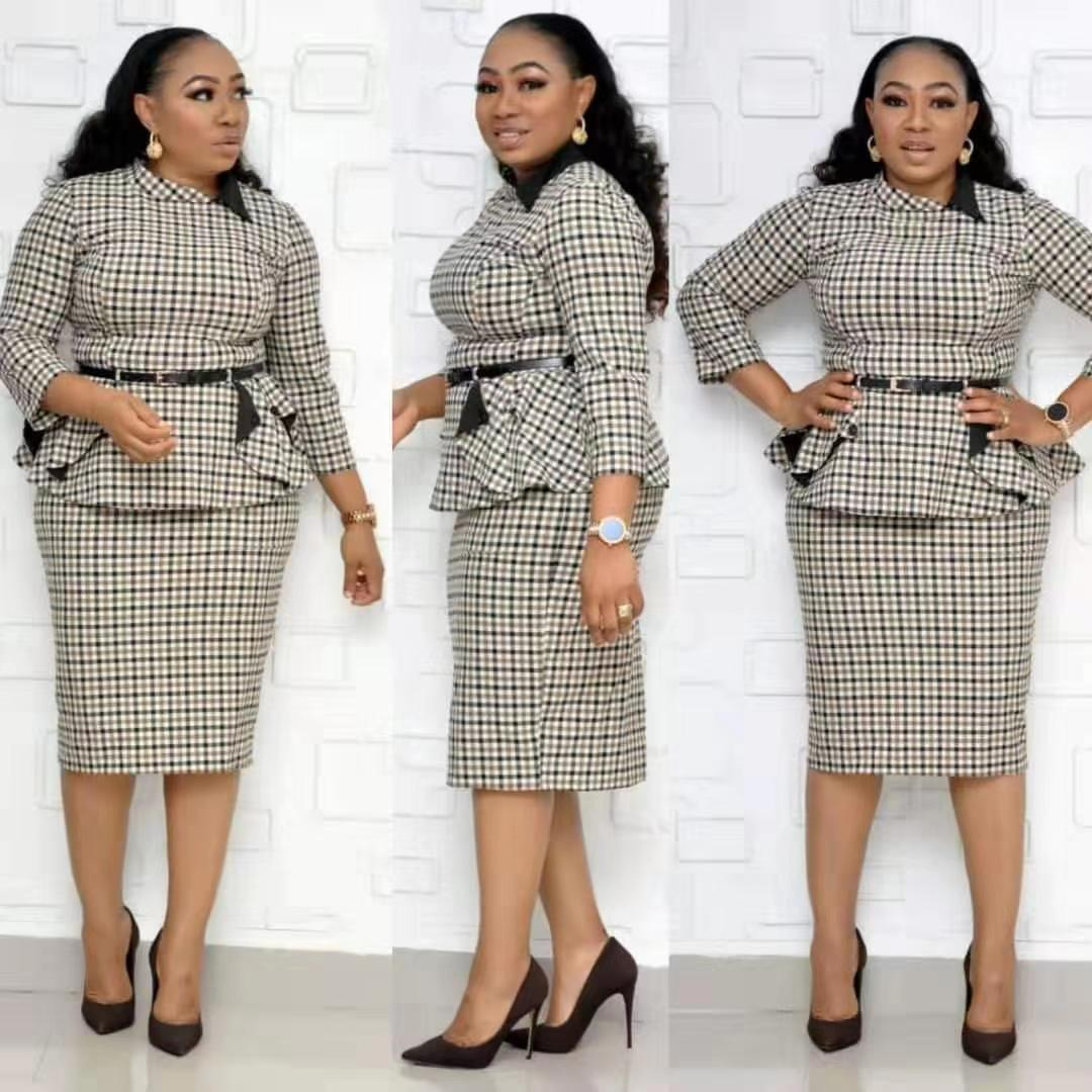Women Plus Size Tops And Skirt  2 Piece Outfits For Lady Plaid Print 3/4 Sleeve Elegant Pencil Skirt Two Piece Sets Clothes