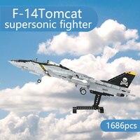 MOC klocki F-14 Tomcat kreatywne samoloty klocki, supersonic fighter DIY modele montażowe, zabawki dla dzieci prezenty