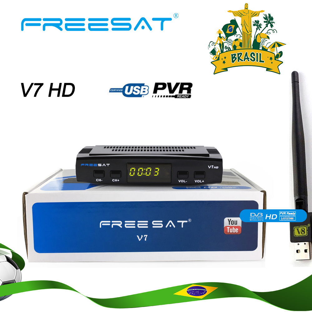 Freesat V7 HD DVB-S2 Full HD 1080P Satellite TV Receiver+USB WIFI Anttena Spain Brazil TV Tuner Support CCCAM NEWCAM Set Top Box
