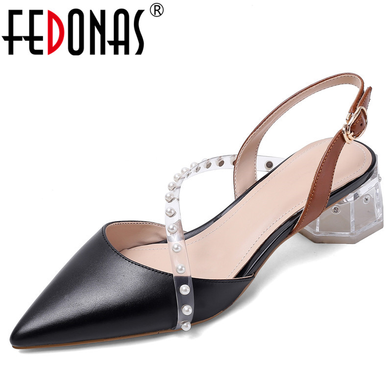 FEDONAS Pearl Decoration Pumps Women Spring Autumn Genuine Leather Basic Party Shoes Woman Crystal Heels Pointed Toe Pumps
