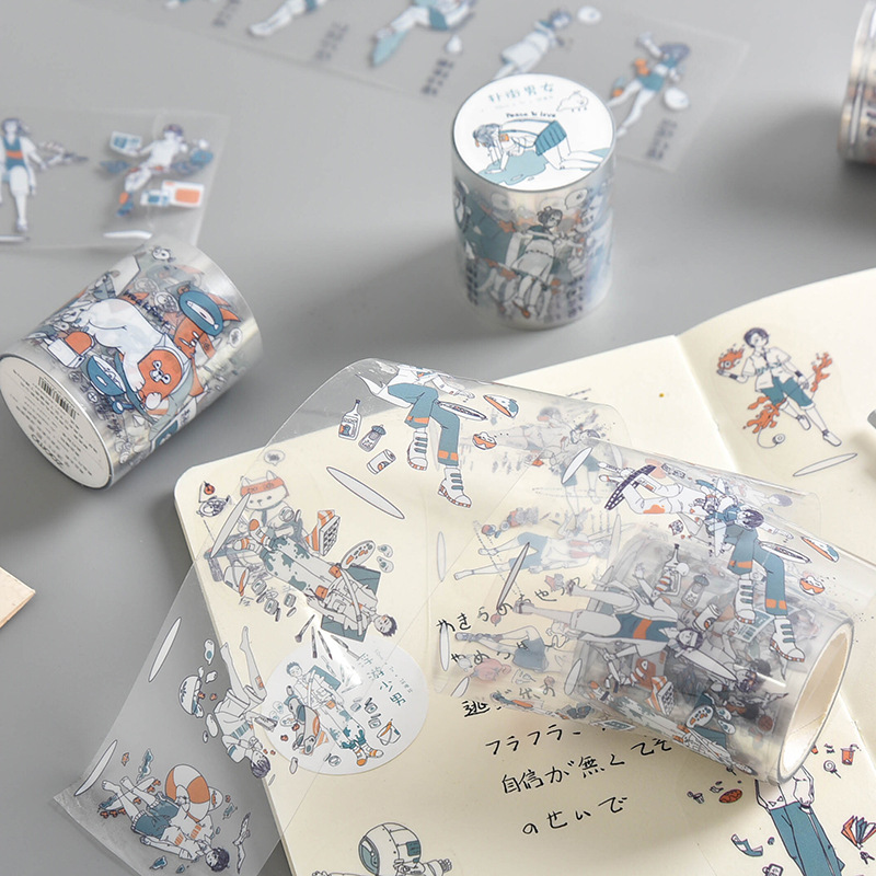 Zaomo Original Fog Surface Pet Tape Floating Girl Series Fresh Hand Account Material Release Paste 4 Stickers Flakes