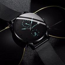 Erkek Kol Saati Mens Watches CRRJU Mens Stainless Steel Watches Unique Casual Quartz Watch for Men Sport Waterproof Clock