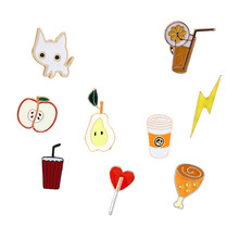 Cartoon Brooch Cute Cat Cola Juice Chicken leg Pear Funny Enamel Lapel Pin Bag Hat Badge Clothes Jackets Brooches Jewelry Gift(China)