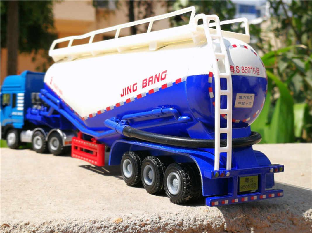 Semi-Trailer รถบรรทุกแป้ง Transporter รถบรรทุกซีเมนต์โลหะผสม Transporter รุ่น 1:50 ของเล่นเด็กดึงกลับของเล่น