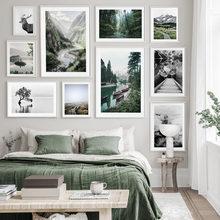 Manzara resim ev dekor İskandinav Minimalist posterler ve baskılar duvar sanatı doğa dağ manzara tuval boyama yatak odası için