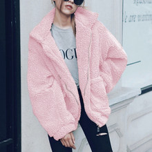 Solid Color Cropped Teddy Jacket Women Autumn Winter Furry Warm Overcoat Zipper Outerwear Female Homme Casual Streetwear Jacket(China)