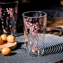 Double Wall Glass Heat Resistant Beer Glass Cup Water Glasses For Drinking Juice Coffee Latte Mug Wine Glass Cherry Blossom cow udder shaped juice pitcher clear wine beer mug cup double glazing handle glass gift innovative milk creamer coffee