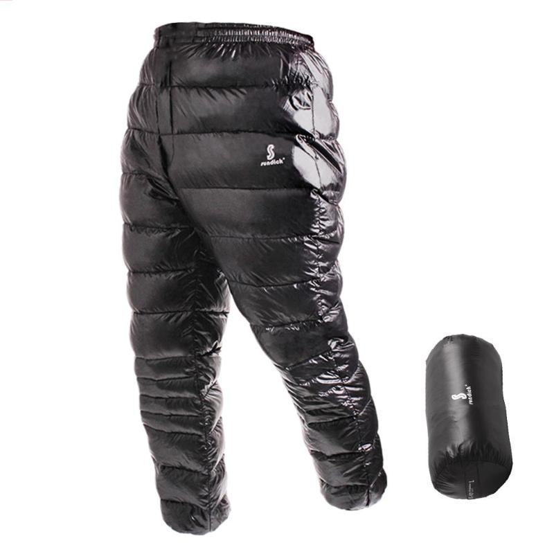 SUNDICK White Goose Down Pants Windproof Waterproof Winter Warm Outdoor Camping Climbing Pants Ultra-light Trousers Black