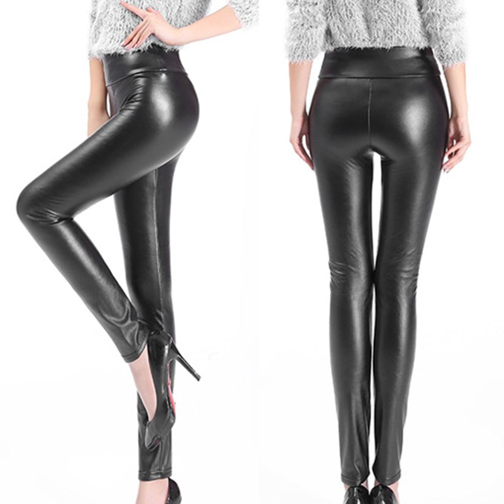 Plus Size Chic Lady Faux Leather Elastic High Waist Causal Slim Leggings Pants Women's Solid Color High-waisted Leggings