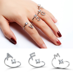 1pcs 26 English Letters A-Z Rings Silver Color Rhinestone Open Cuff Adjustable Finger Rings Friends Couple Jewelry Gift(China)