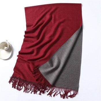 Winter Cashmere Scarf Women Thick Warm Shawls Wraps Lady Solid Scarves Fashion Tassels Pashmina Blanket quality foulard 2020 New 8