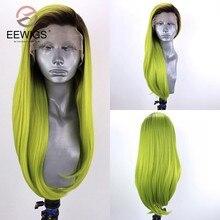 EEWIGS Roxo Alta Temperatura Fibra Profunda U Completa Perucas de Cabelo Longo Natural Hetero Lace Wig Sintético Frente Para Mulheres