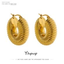 Yhpup Trendy Round Chunky Hoop Earrings Gold Color Stainless Steel Bijoux Ete 2021 Jewlery New Metal 18 K Earrings Accessories