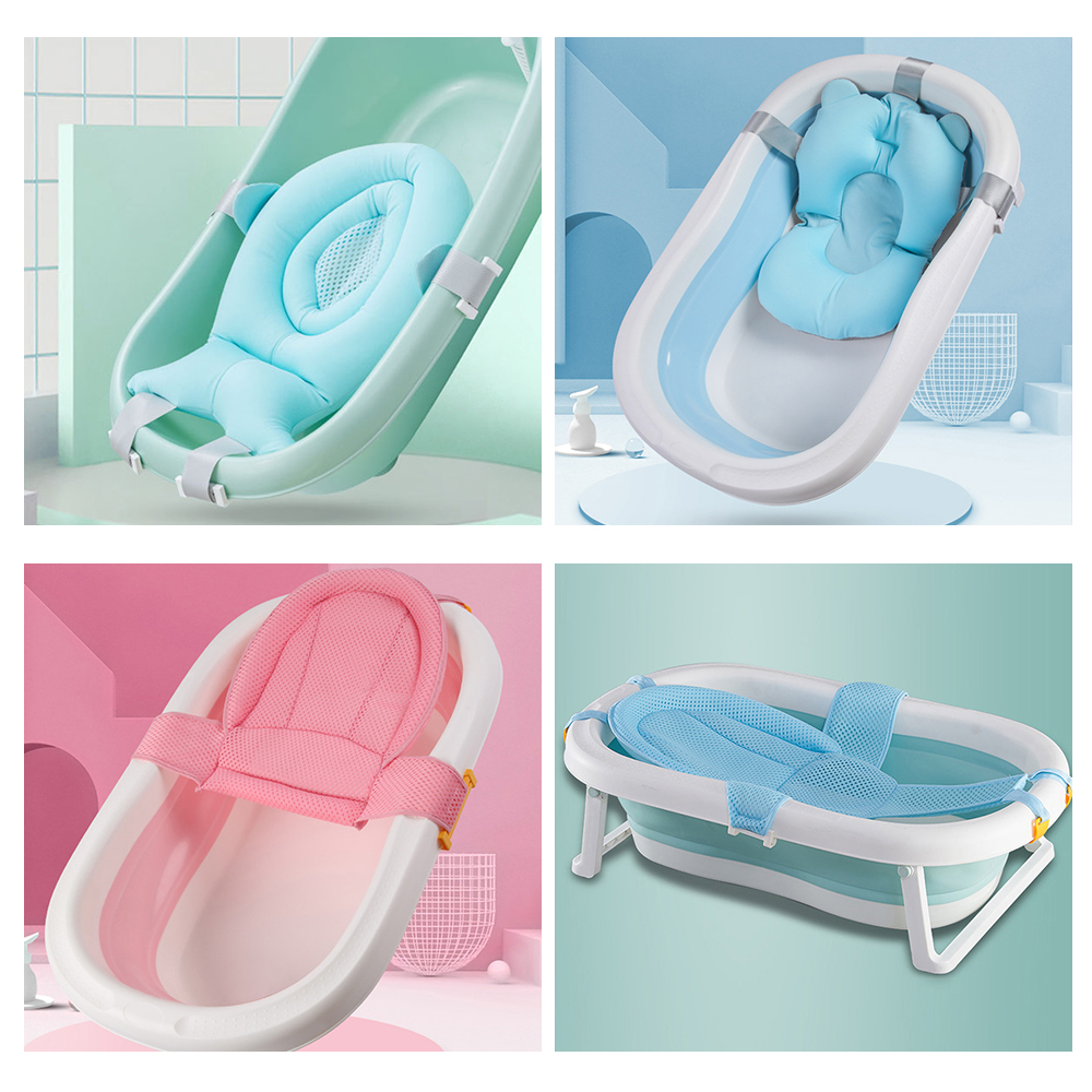 Newborn Baby Folding Bath Tub Cute Portable Baby Shower Tub Pad Non-Slip Bathtub Mat Newborn Portable Bath Tools Gift For Infant