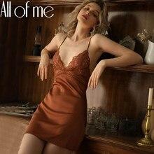 Seksowna koszula nocna koronkowa koszula nocna damska bielizna Backless koronkowa dekolt nocna naśladuj lodowy jedwab sukienka wieczorowa Homewear dla kobiet