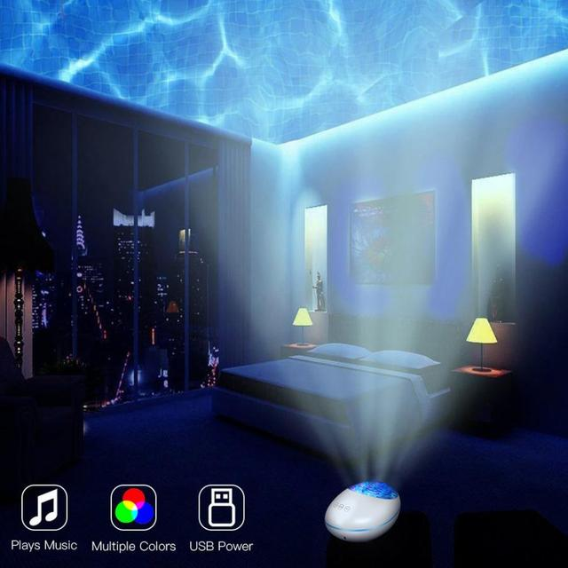 Ocean Wave Projector LED Starry Sky Night Light Marine Colorful Rotate Flashing Star Light with Music Bluetooth Remote Control
