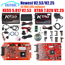 Ab versiyonu kırmızı PCB KESS V2.53 V5.017 KESS 2.53 yeni KTAG V7.020 yeni 4LED SW V2.25 çevrimiçi sürüm hayır jeton KESS 5.017 V2