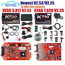EU รุ่น PCB สีแดง KESS V2.53 V5.017 KESS 2.53 ใหม่ล่าสุด KTAG V7.020 ใหม่ 4LED SW V2.25 ออนไลน์เวอร์ชั่น Tokens KESS 5.017 V2