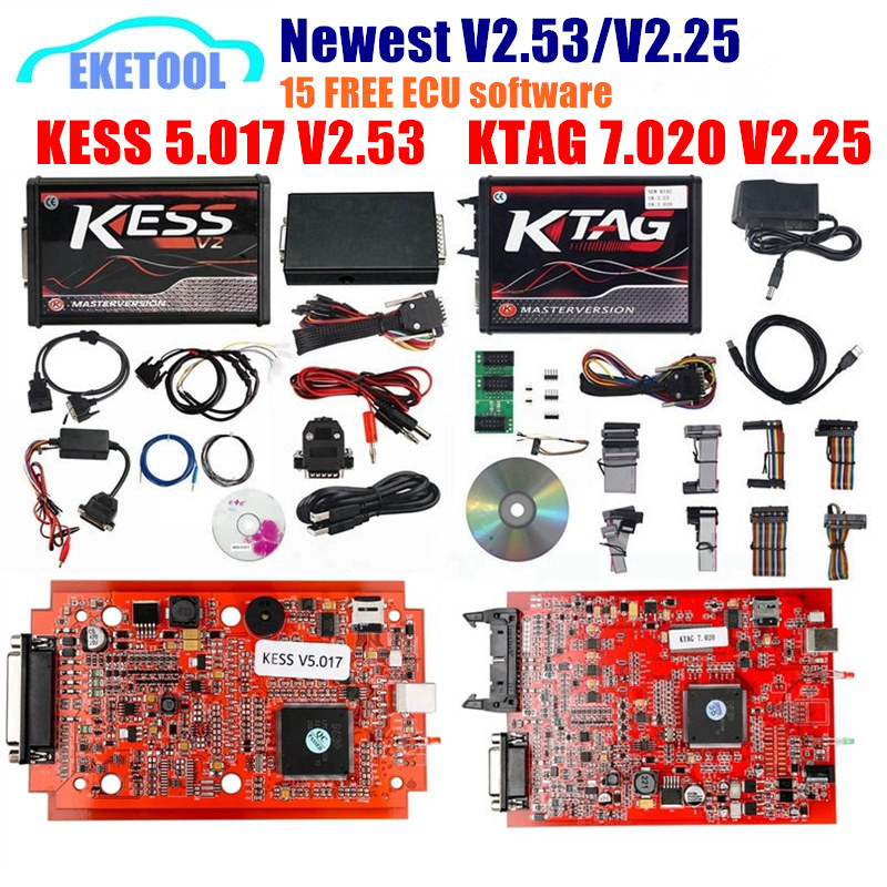 EU Version Red PCB KESS V2.53 V5.017 KESS 2.53 Newest KTAG V7.020 New 4LED SW V2.25 Online Version No Tokens KESS 5.017 V2