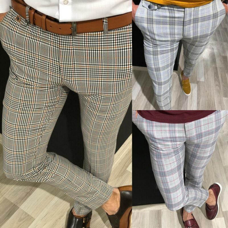 Fashion Mens Slim Fit Trousers Check Casual Pants