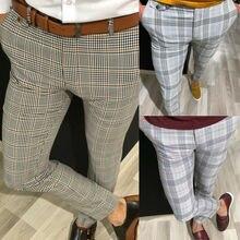 Fashion Mens Slim Fit Trousers Check Casual Pants Joggers Tartan Jogging Skinny Bottoms New Plus Size