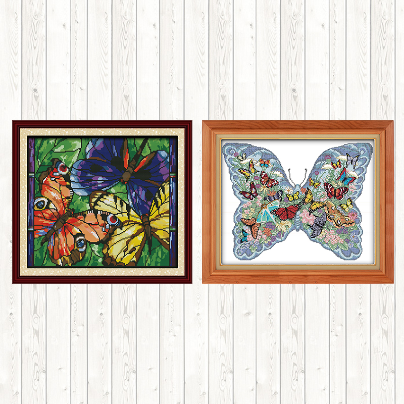 Colorful Butterflies Chinese Cross stitch Embroidery Animals 14ct 11ct DIY Needlework Printed on Canvas Counted Fabric Handmade Package    - AliExpress