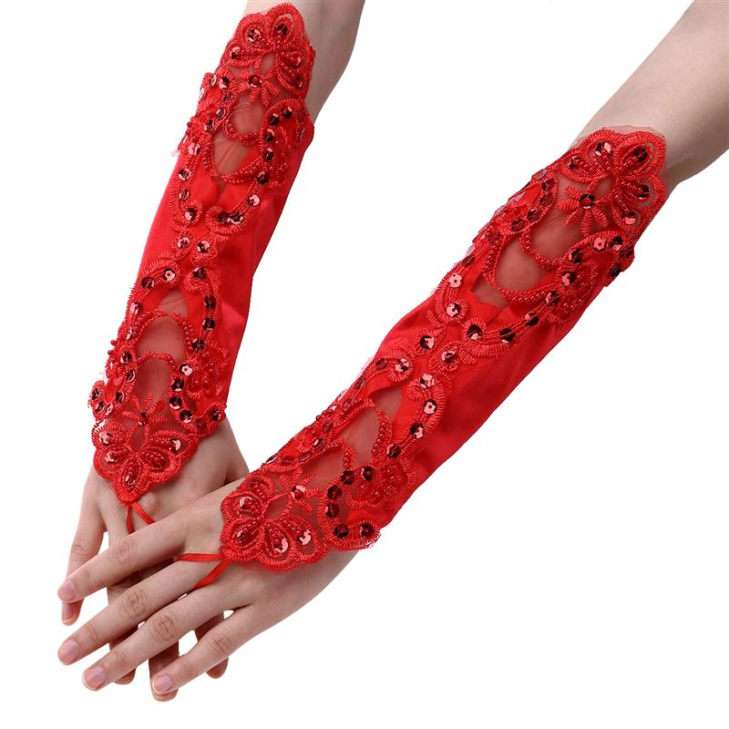 Red Long Lace Bridal Gloves Elegant Womens Fingerless Wedding Bridal Gloves For Women Bride Wedding Accessories