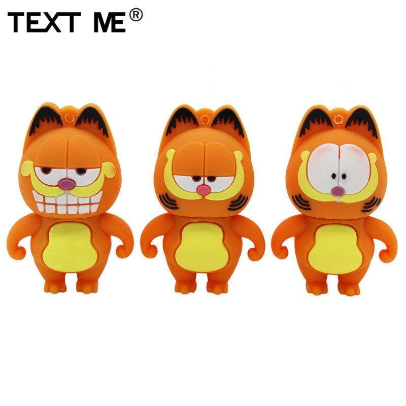 TEXT ME Beautiful 64GB Mini Cute Garfield Model Usb Flash Drive Usb 2.0 4GB 8GB 16GB 32GB  Pendrive Gift