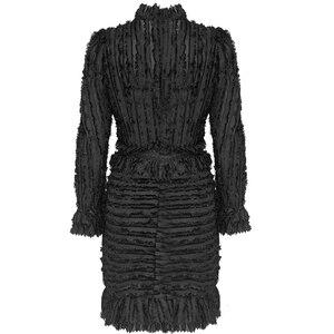 Image 2 - TWOTWINSTYLE 패치 워크 프릴 인쇄 Ruched 여자의 드레스 스탠드 칼라 퍼프 슬리브 높은 허리 드레스 여성 패션 의류