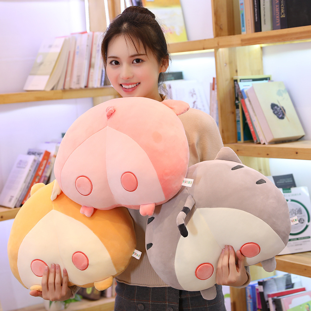 KUY 2020 New Cute 40CM/50cm Novelty Chi Chi's Cat Butt Plush Corgi Pillow Pig Cushion Cartoon Animal Sofa Stuffed Dog Kids Toys
