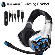 Sades SA822T 게임용 헤드셋 게이머 이어폰 PS4, Xbox PC 컴퓨터 용 오버 이어 게임용 헤드폰