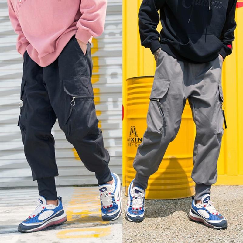 Japanese-style Retro Men'S Wear 2018 Autumn MEN'S Casual Pants Solid Color Capri Men Multi-pockets Skinny Pants Casual Pants