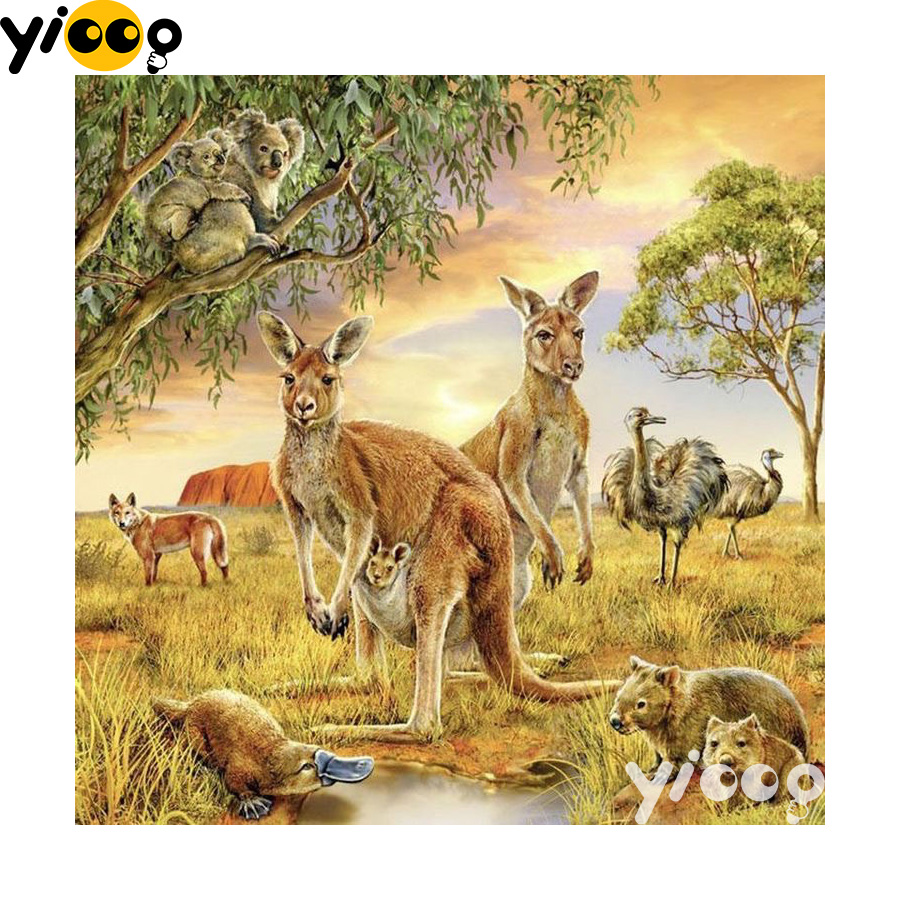 5D Diamond Painting Full Drill Embroidery Cross Stitch Kit Kangaroos Home Decors