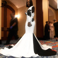 Gorgeous White and Black Prom Party Dresses Long 2020 Deep V Neck Lace Appliques Formal Open Back Evening Occasion Gowns Vetidos