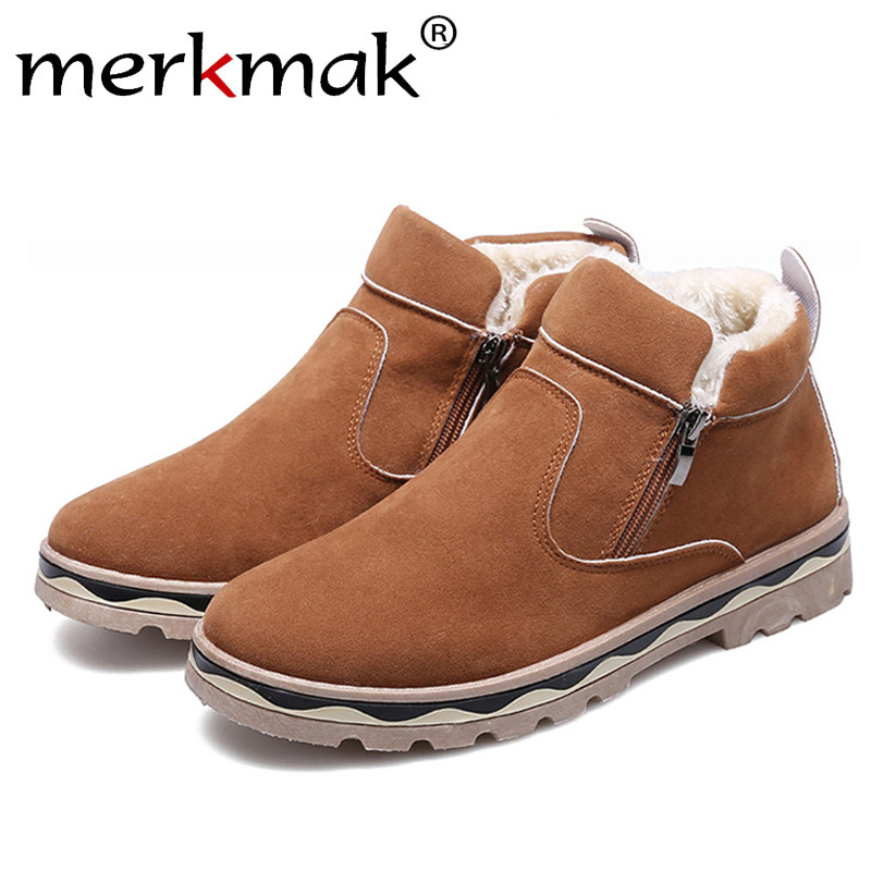 Merkmak 2019 New Winter Men Shoes Fashion British Style Snow Booties Warm Round Toe Casual Shoes Non-slip Big Size Ankle Booties