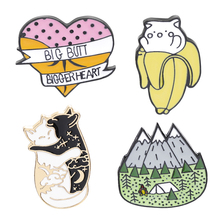 camping pins and brooches funny banana cat lapel badge enamel big butt bigger heart brooch Hugging cats pin black white