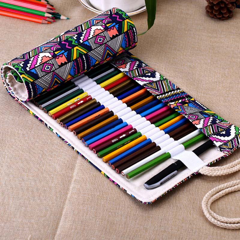 New 36/48/72 /12 Holes Canvas Wrap Roll Up Pencil Bag Pen Case Holder Storage Pouch Writing Supplies GY88