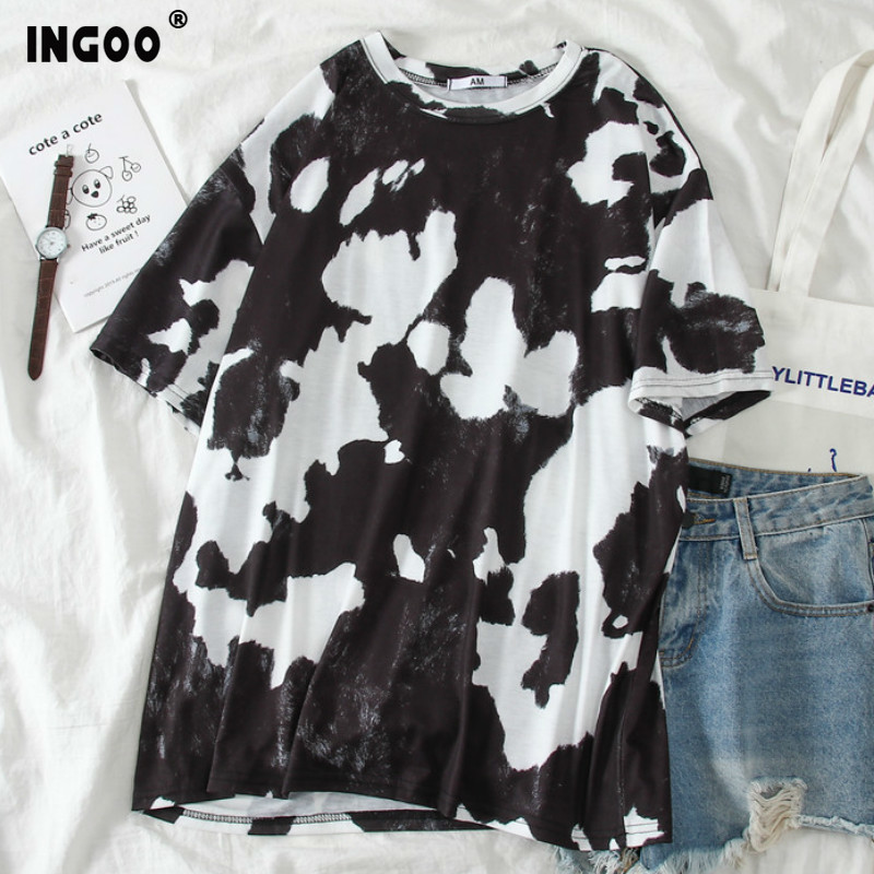 INGOO Casual Summer Short Sleeve T-shirt Tops Women Fashion Ulzzang Dyeing Print Streetwear Loose Female T-shirt Tee Plus Size