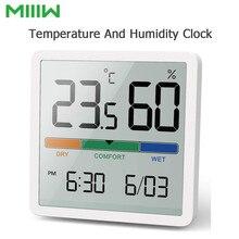 Miiiw reloj silencioso de temperatura y humedad para interiores, Monitor de temperatura y humedad para habitación de bebé C/F de alta precisión, gran pantalla LCD de 3,34 pulgadas