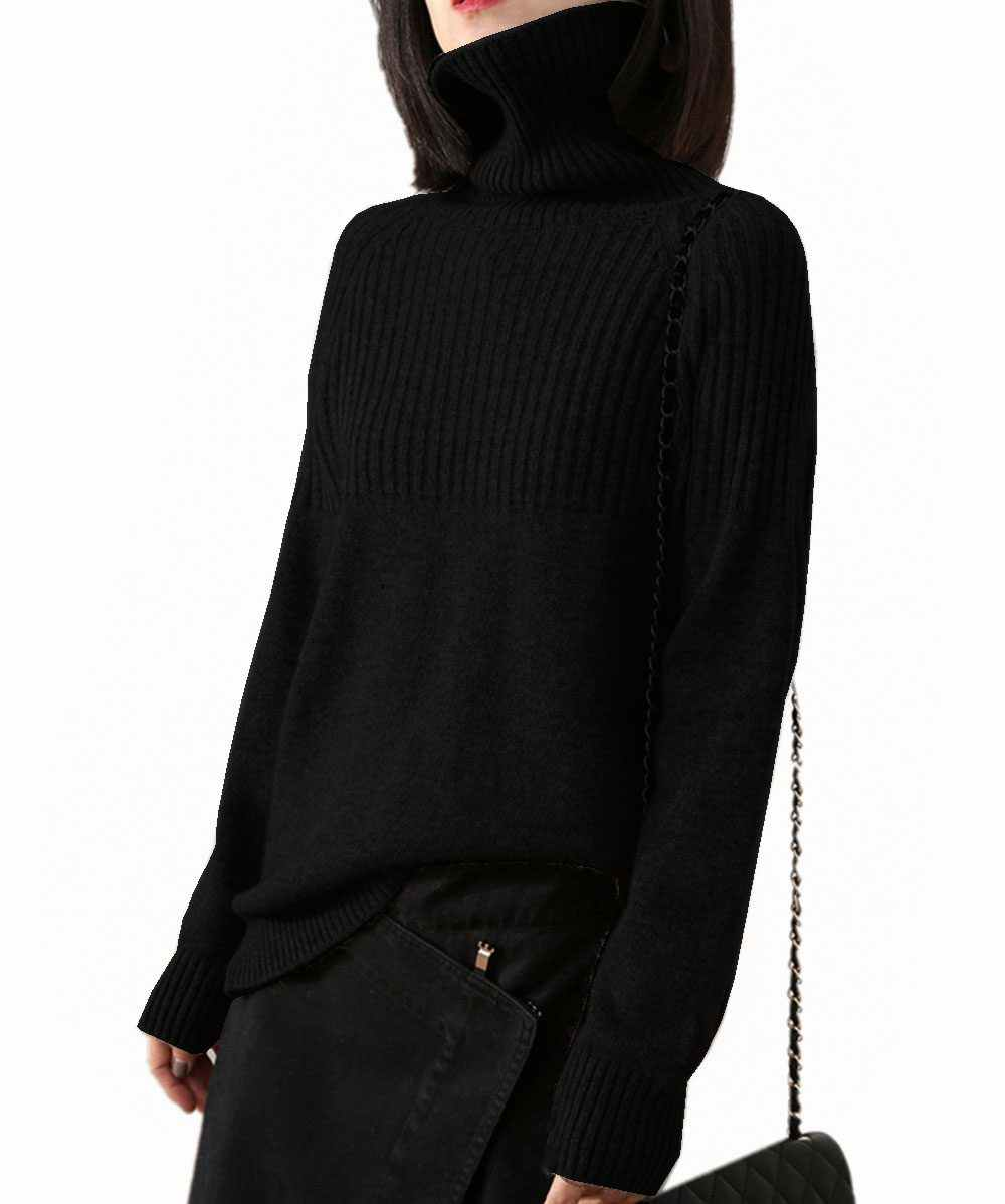 Penjahit Domba Kasmir Sweater Wanita Lengan Panjang Penebalan Pullover Longgar Kebesaran Turtleneck Sweater Wanita Hangat Wol Atasan