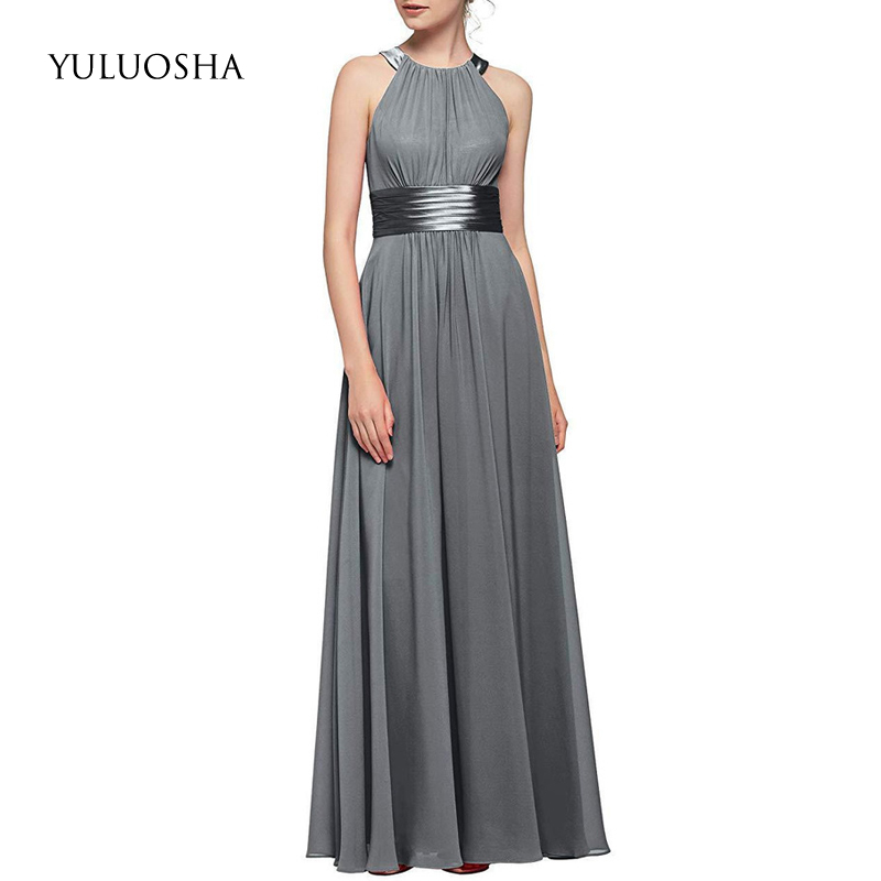 YULUOSHA Bridesmaid Dresses Plus Size Sleeveless A-Line Draped Special Occasion Dresses Wedding Guest Dress Vestido De Festa