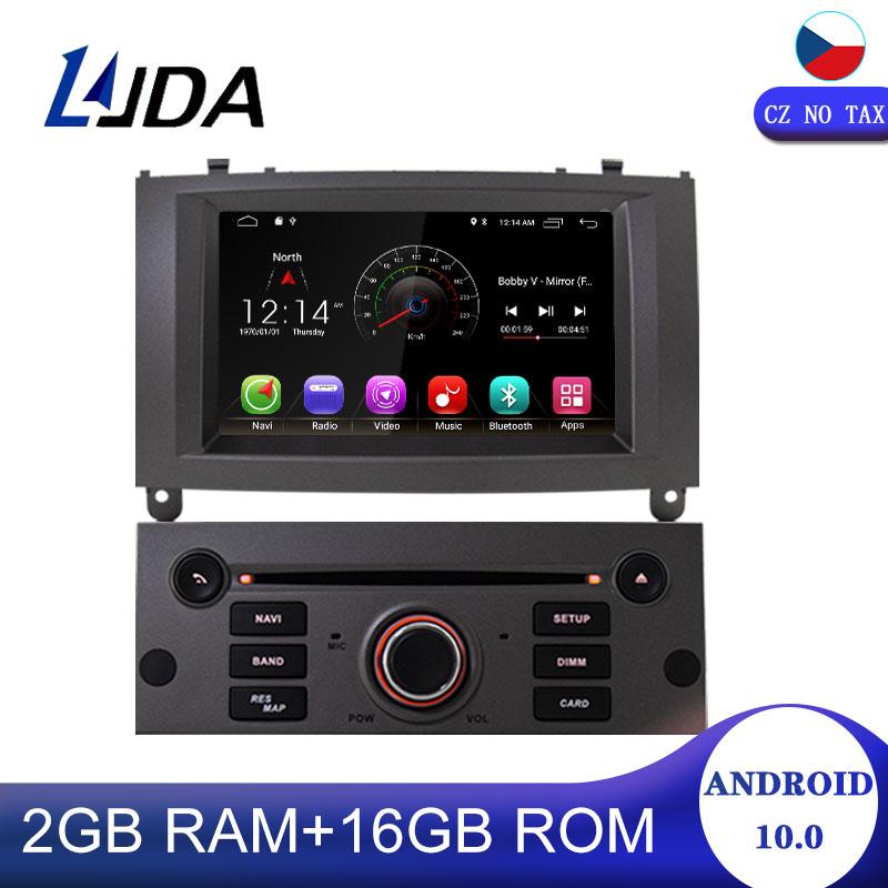 Автомагнитола LJDA 1 Din Android 10,0 для Peugeot 407 2004-2010, автомобильный мультимедийный плеер, стерео, аудио, GPS-навигация, DVD, видео, DSP
