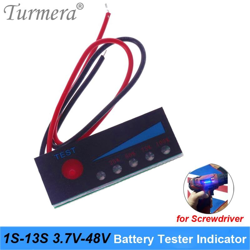 Turmera 1S-13S Battery Tester Capacity Indicator 4.2V 8.4V 12V 16.8V 18V 24V 25V 36V 48V For Screwdriver Battery And E-bike Use