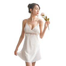 Sexy Night Gowns Silk Backless Night Dress Lace V-neck Mini Nightgown Spaghetti Strap Sleepwear Satin Womens Clothing Lingerie night wear sexy lace lingerie sexy womens satin nightgown sleepwear silk lace mini dress spaghetti strap sexy lingerie patchwork
