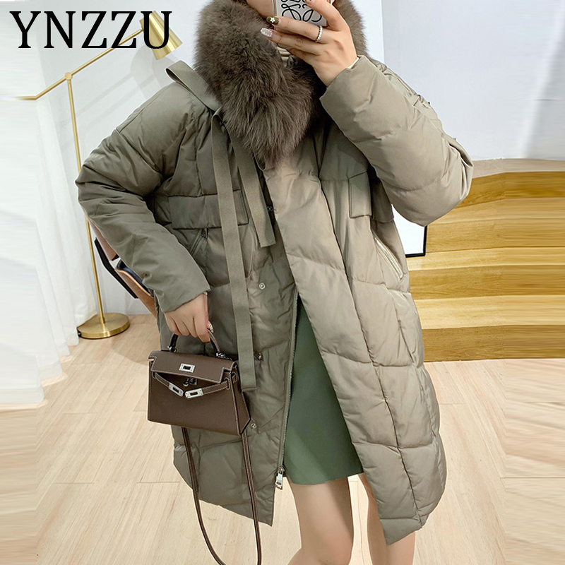 YNZZU High Quality 2019 Winter Real Fox Fur Collar Warm Women's Down Jacket Tie Up Bow Duck Down Coat Loose Female Jacket  A1231