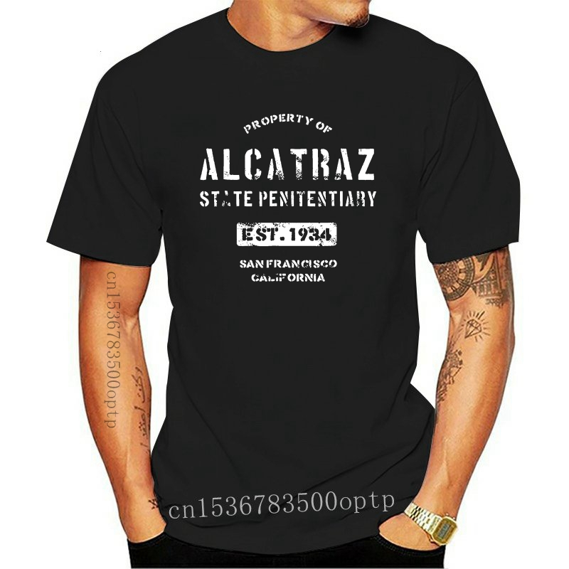 Property of Alcatraz Penitentiary Prison T-Shirt New Fashion Men Short Sleeve T Shirt Male Hipster Tops Tee Plus Size