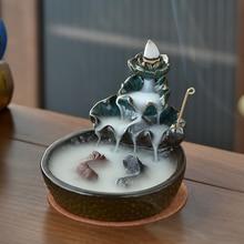 Lotus Pond Backflow Incense Burner Fish Smoke Waterfall Censer Ceramic Incense Stick Holder Gift Ornaments Creative Home Decor